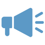 blue and white icon of a megaphone
